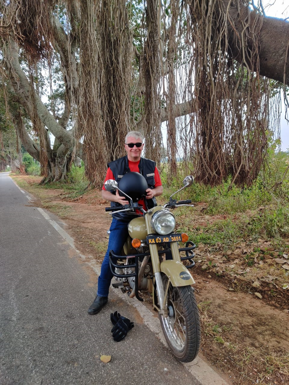 Didier Bassleer during a motorbike ride in India